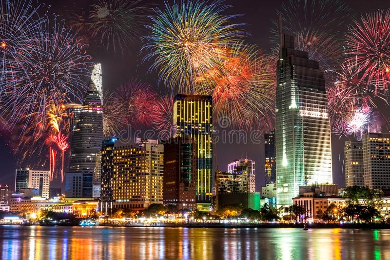 Fireworks Bursting in The City royalty free stock photography