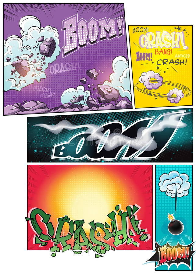 Image comic book pages with different background comic strips and various inscriptions boom stock illustration