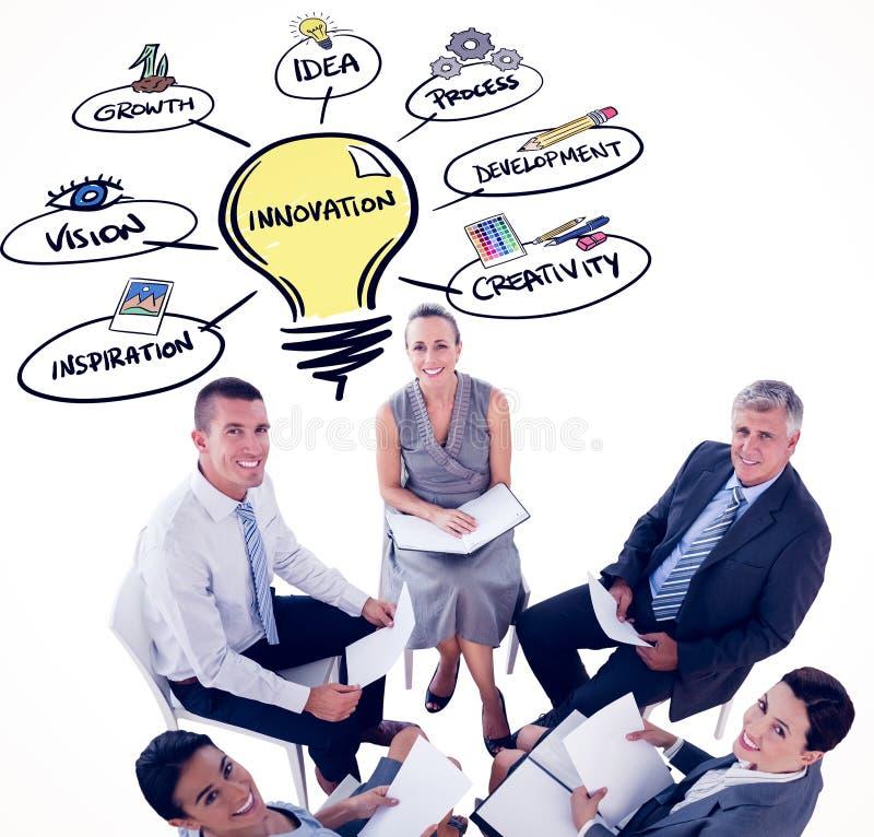 Download Image Composée D'équipe D'affaires Se Reposant En Cercle Et Discussion Photo stock - Image du cadres, fichiers: 56479148