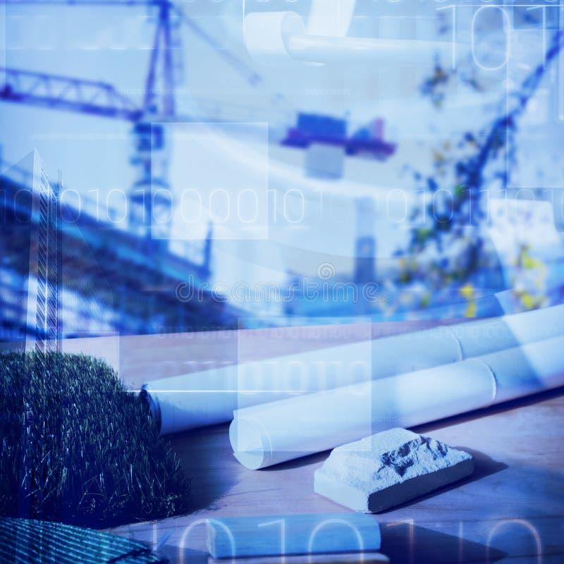 Image composée d'équipement d'architecture sur la table photos stock