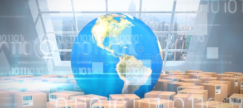 Image composée d'image composée de globe avec des boîtes illustration libre de droits