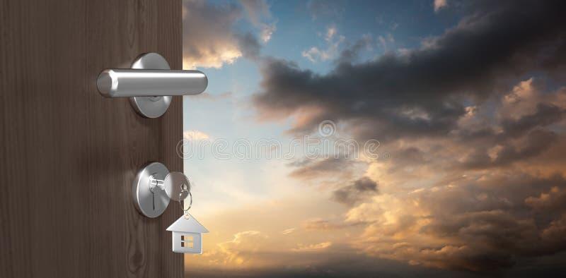 Image composée d'image digitalement produite de porte brune avec la clé de maison photographie stock