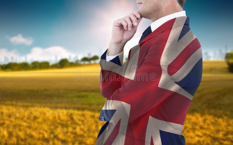 Image composée d'homme d'affaires élégant dans la pose de costume image libre de droits