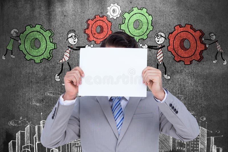 Download Image Composée D'homme D'affaires Tenant Le Signe Vide Devant Sa Tête Illustration Stock - Illustration du architecture, fond: 56478449