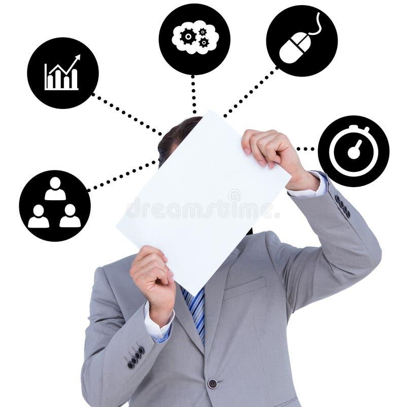 Download Image Composée D'homme D'affaires Tenant Le Signe Vide Devant Sa Tête Photo stock - Image du graphisme, mâle: 56478490