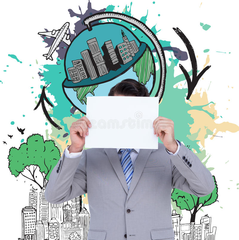 Image composée d'homme d'affaires tenant le signe vide devant sa tête photo stock