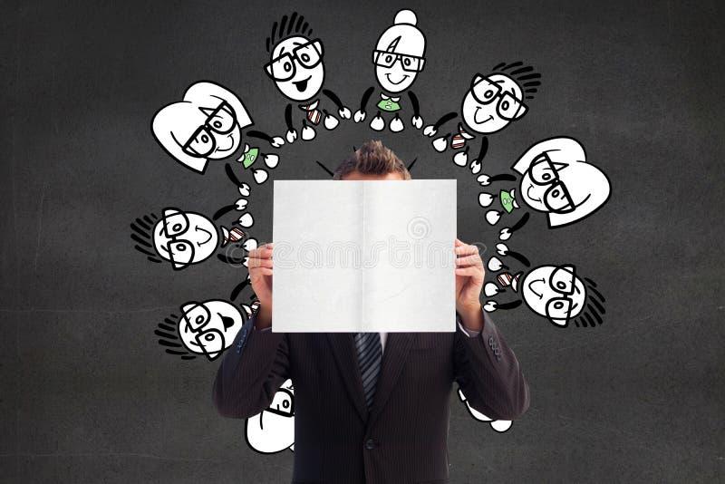 Download Image Composée D'homme D'affaires Tenant Une Carte Blanche Devant Son Visage Illustration Stock - Illustration du businesswoman, foncé: 56478935