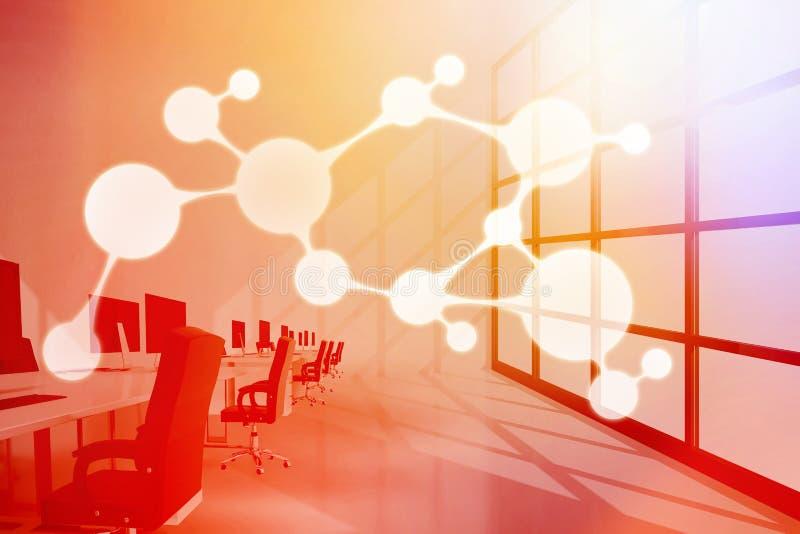 Image composée d'image composée numérique de la structure moléculaire 3d illustration stock