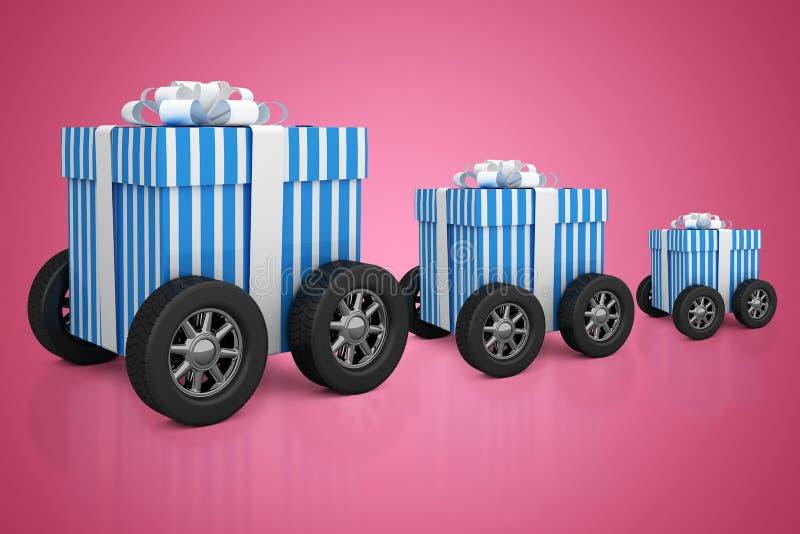 Image composée d'image digitalement produite de boîte-cadeau avec des roues illustration stock