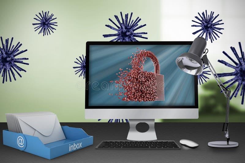 Image composée d'image digitalement produite de la serrure grise 3d illustration libre de droits