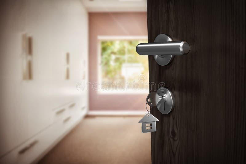 Image composée d'image digitalement produite de porte brune avec la clé de maison photos stock