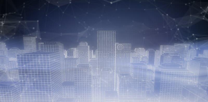 Image composée d'image digitalement produite du paysage urbain 3d illustration stock