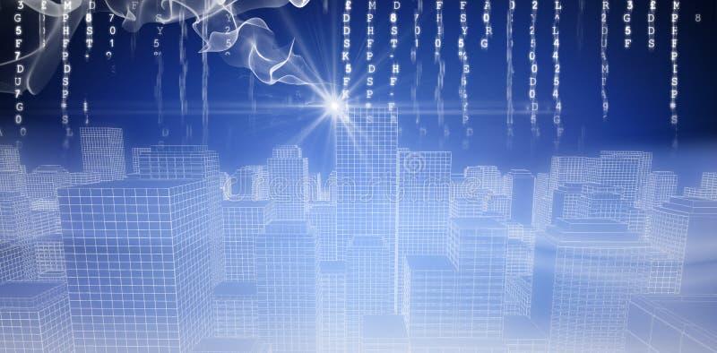 Image composée d'image digitalement produite du paysage urbain 3d illustration de vecteur