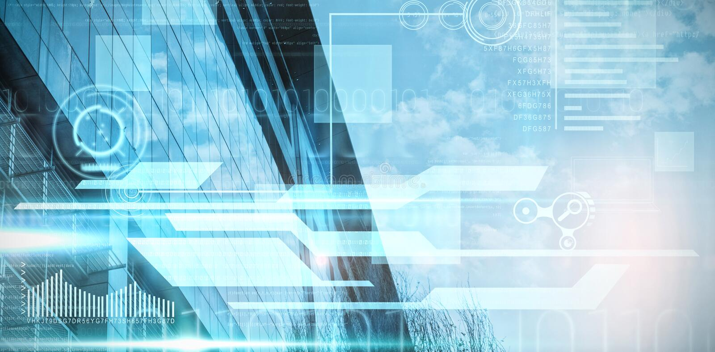 Image composée d'interface bleue et noire de technologie photographie stock