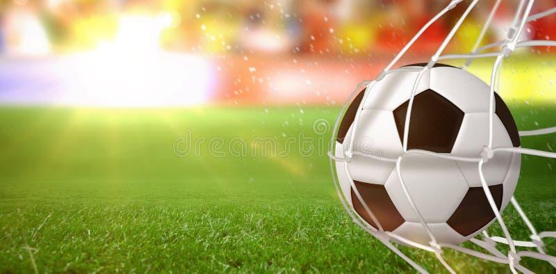 Image composée de ballon de football dans le filet de but images stock