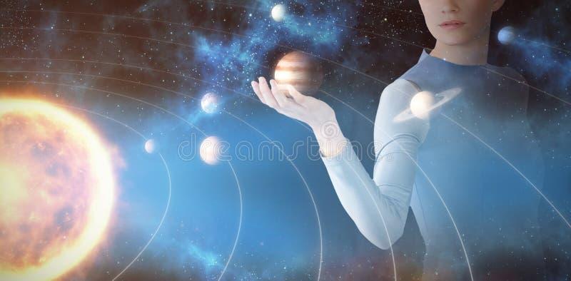 Image composée de belle jeune femme faisant des gestes 3d illustration stock