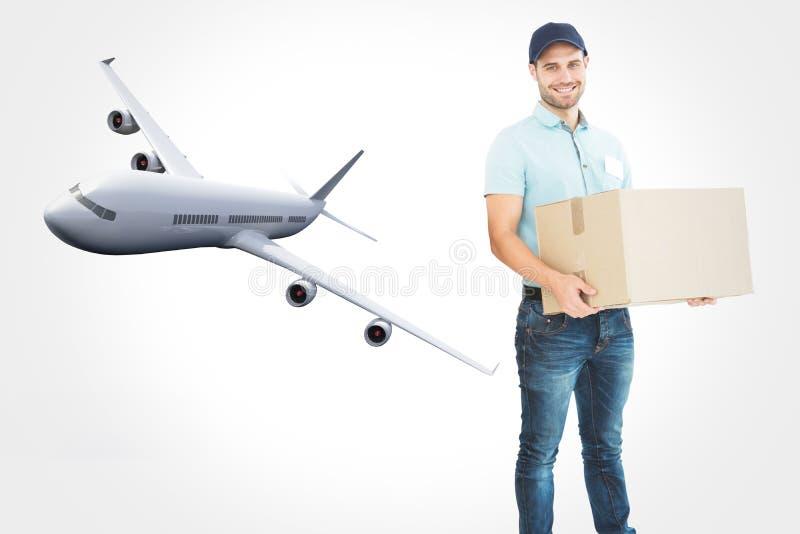 Image composée de boîte en carton de transport d'homme de messager illustration libre de droits