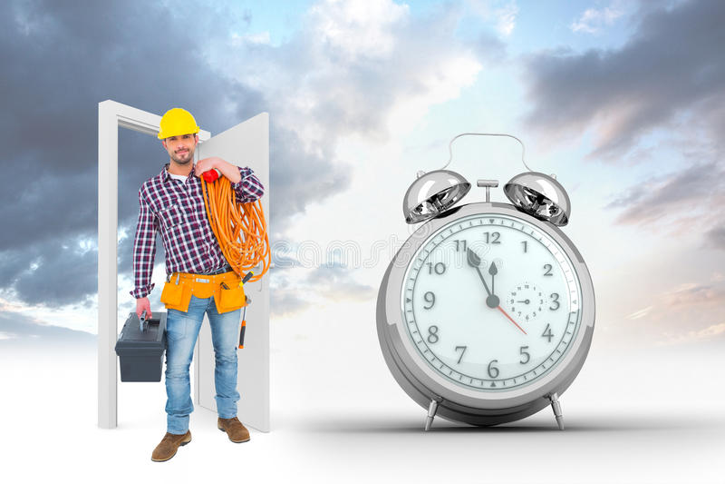 Image composée de bricoleur tenant la boîte à outils et le multimètre illustration libre de droits