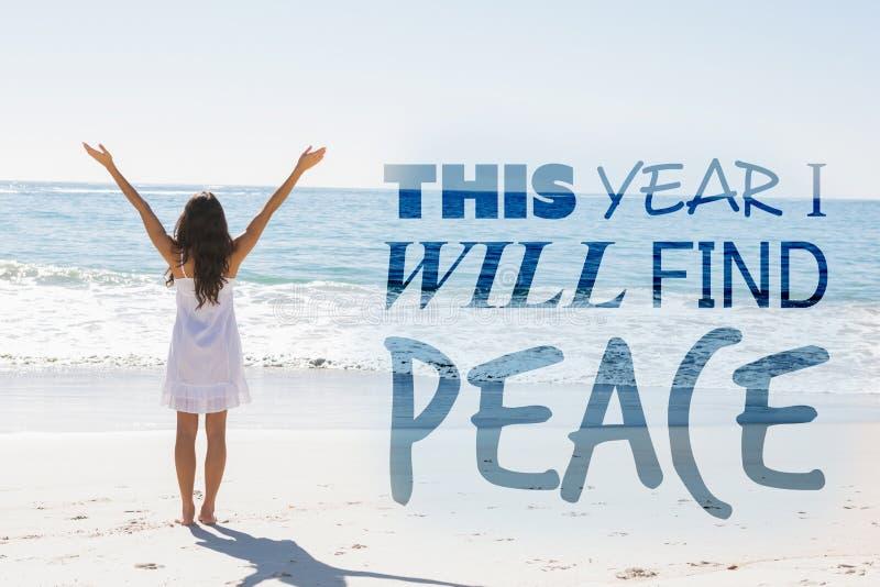 Image composée de cette année je trouverai la paix images stock