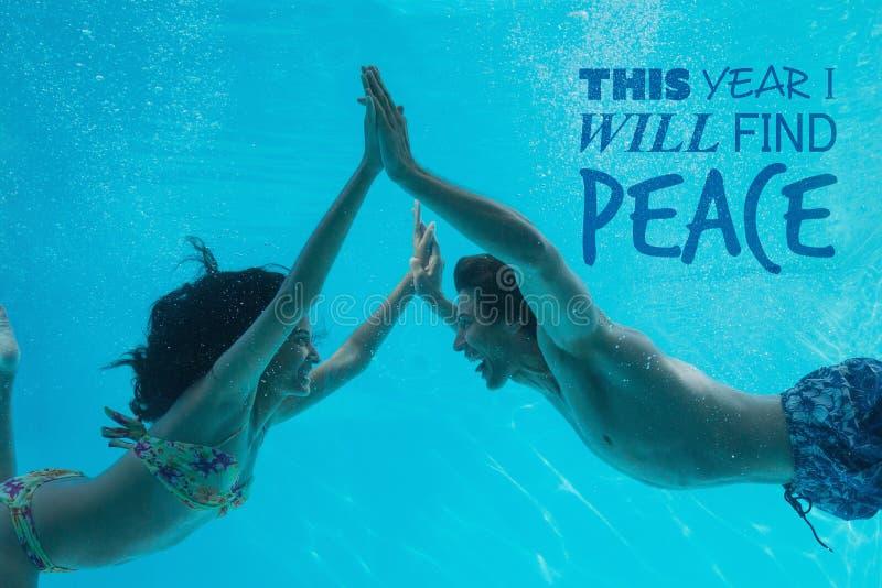 Image composée de cette année je trouverai la paix photos stock