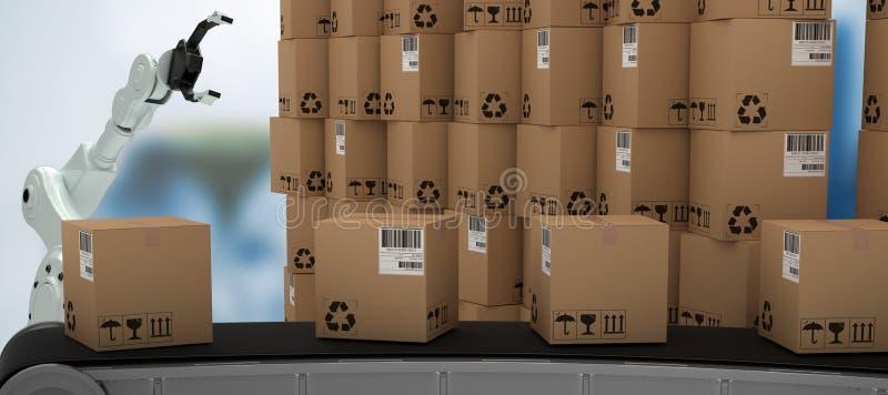 Image composée de chaîne de la production 3d par la pile de boîtes en carton brunes illustration de vecteur