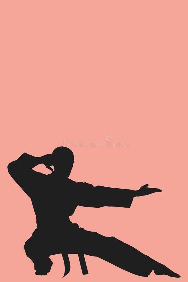 Image composée de combattant exécutant la position de karaté illustration de vecteur