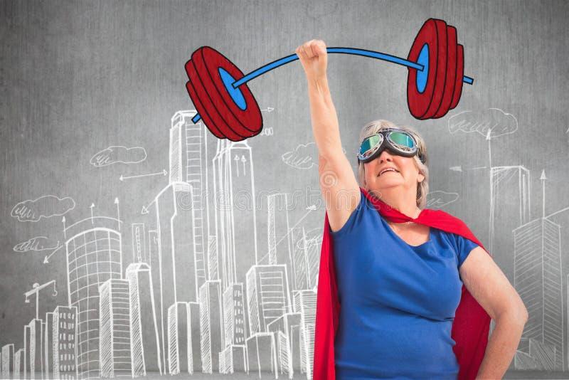 Image composée de déguisement supérieur de femme comme le super héros avec la main a augmenté illustration stock