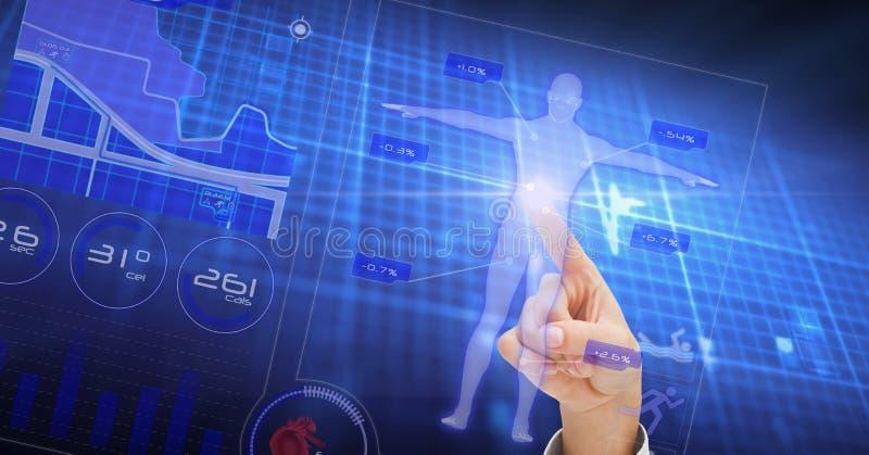 Image composée de Digital de forme humaine émouvante de main sur l'écran image stock