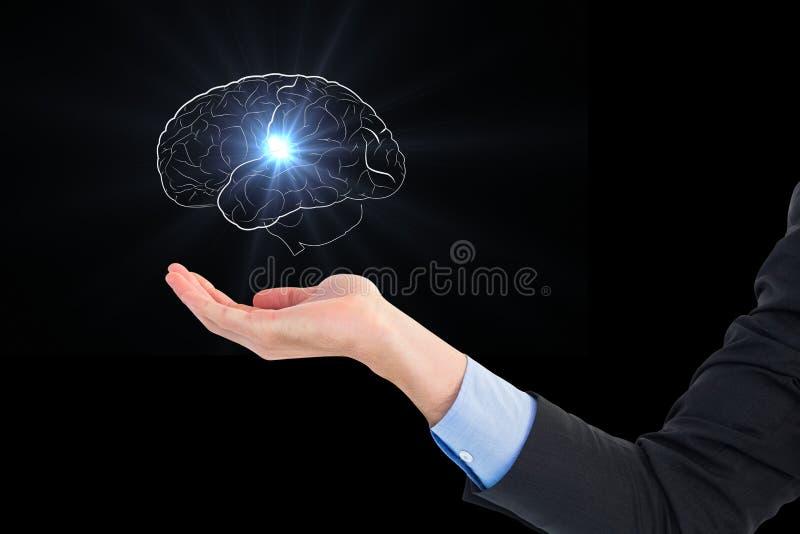 Image composée de Digital de main tenant des graphiques d'esprit humain sur le fond noir images stock