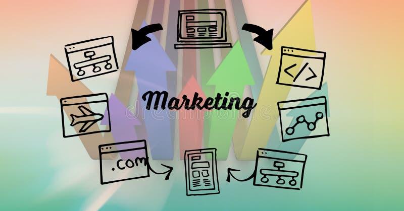 Image composée de Digital de texte et de symboles de vente contre des flèches illustration stock