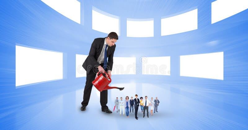 Image composée de Digital des employés de arrosage d'homme d'affaires dans le bureau illustration libre de droits