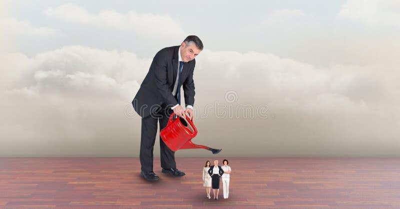Image composée de Digital des employés de arrosage de directeur contre le ciel illustration stock
