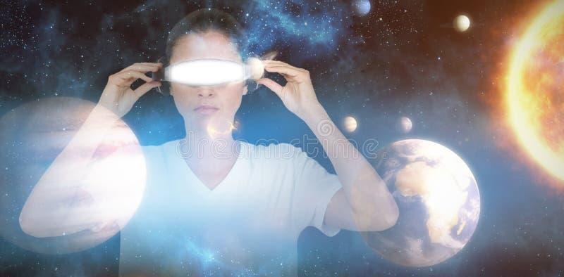 Image composée de jeune femme avec les verres visuels virtuels 3d illustration stock