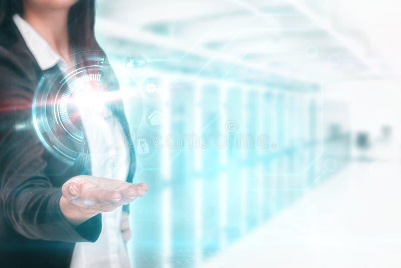 Image composée de jolie femme d'affaires présentant avec la main images libres de droits