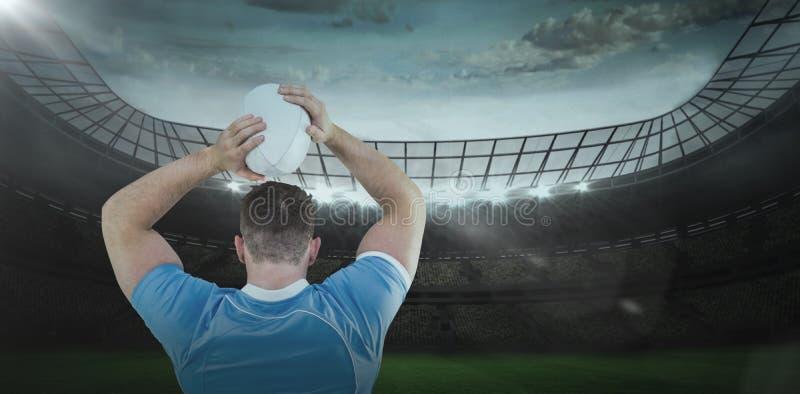 Image composée de joueur de rugby jetant la boule 3D images libres de droits