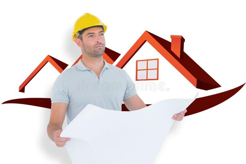 Image composée de l'architecte masculin réfléchi tenant le modèle illustration de vecteur