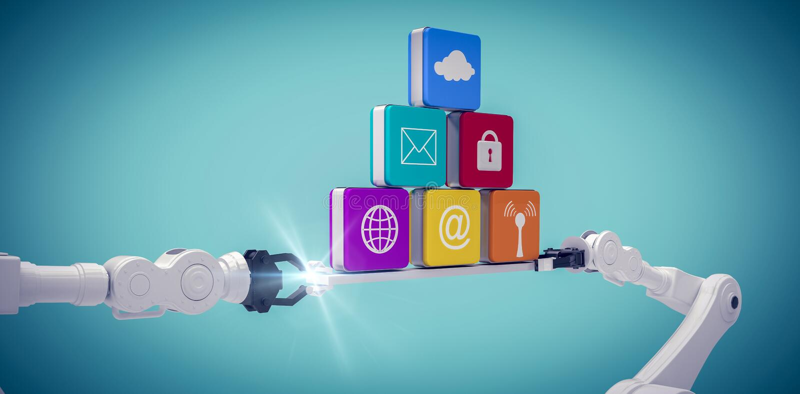 Image composée de l'image digitalement composée des mains robotiques blanches tenant des icônes d'ordinateur illustration libre de droits