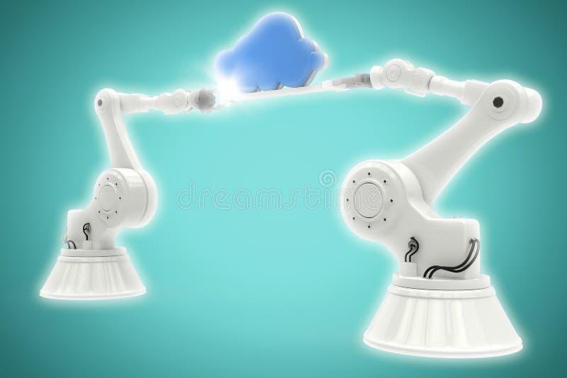 Image composée de l'image digitalement composée des mains robotiques métalliques tenant le nuage bleu illustration de vecteur