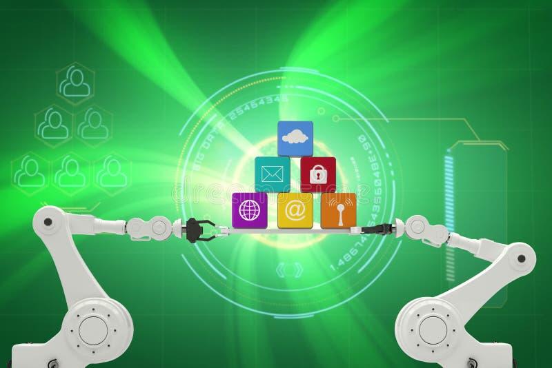 Image composée de l'image digitalement composée des mains robotiques tenant des icônes d'ordinateur illustration stock