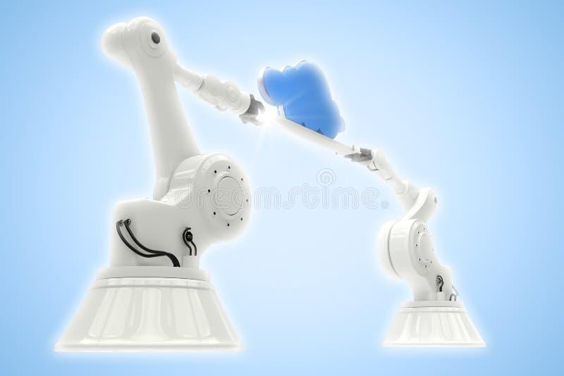 Image composée de l'image digitalement composée des mains robotiques tenant le nuage illustration de vecteur