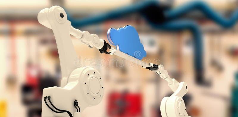 Image composée de l'image digitalement composée des mains robotiques tenant le nuage illustration libre de droits