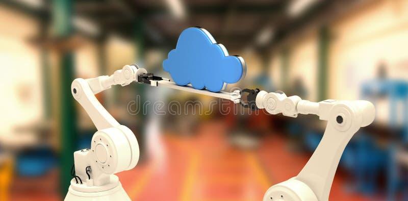 Image composée de l'image digitalement composée des mains robotiques tenant le nuage bleu illustration stock