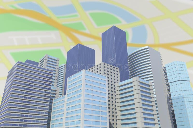 Image composée de l'image digitalement produite des bâtiments dans la ville 3d illustration de vecteur