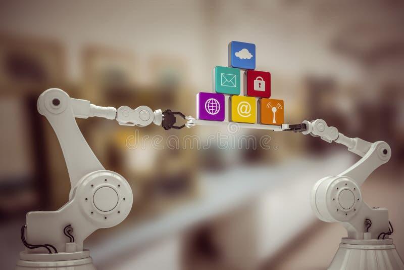 Image composée de l'image digitalement produite des mains robotiques métalliques tenant des icônes d'ordinateur illustration stock