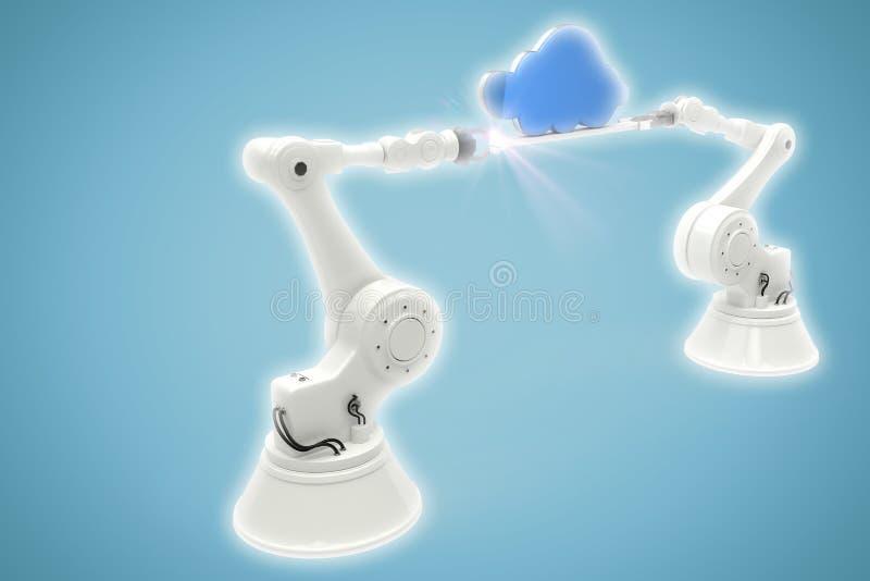 Image composée de l'image digitalement produite des mains robotiques tenant le nuage bleu illustration libre de droits