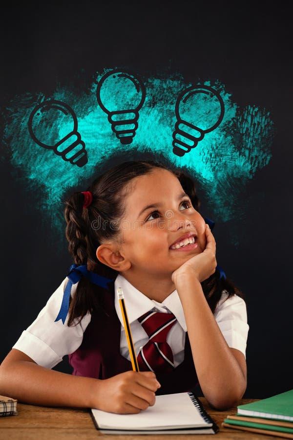 Image composée de l'image composée numérique des ampoules sur la peinture de jet bleue illustration de vecteur