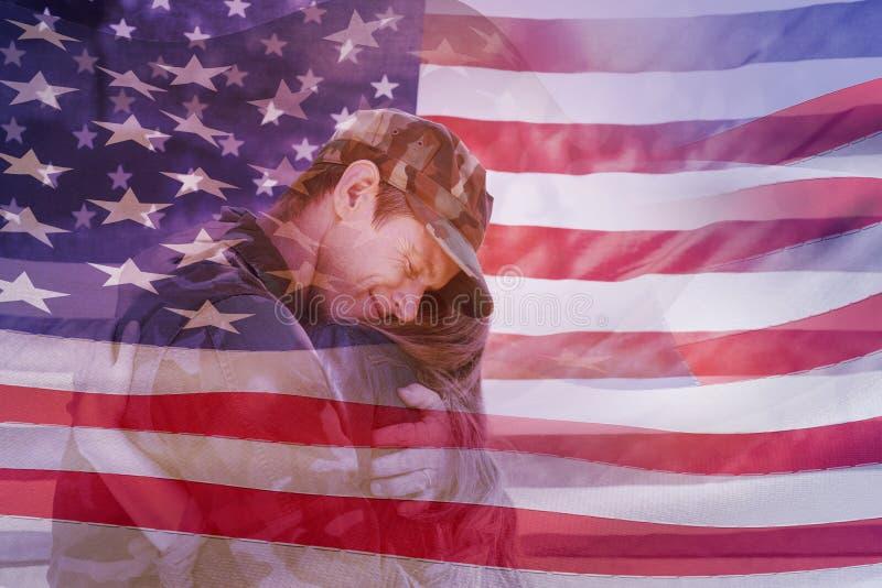 Image composée de l'ondulation digitalement produite de drapeau américain illustration de vecteur