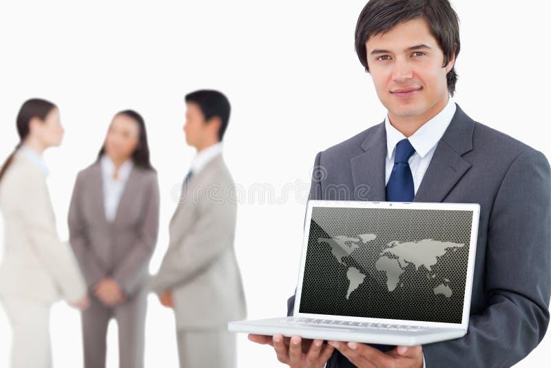 Image composée de la carte argentée du monde au-dessus des points photographie stock libre de droits