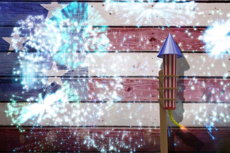 Image composée de la fusée 3D pour des feux d'artifice photo libre de droits