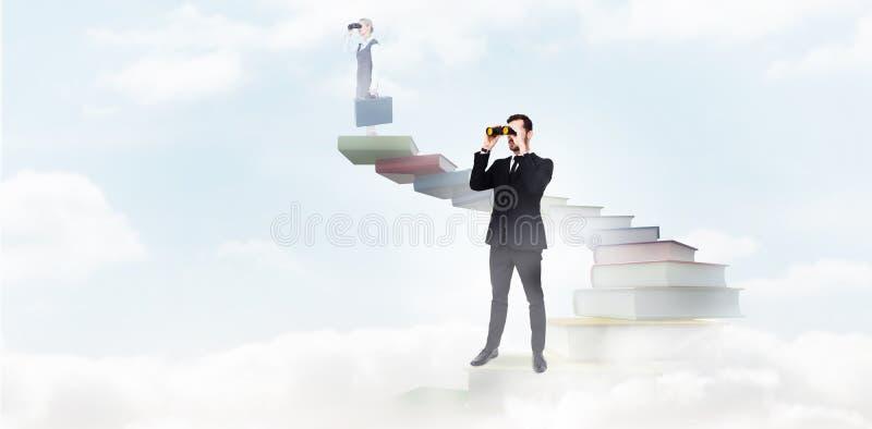 Download Image Composée De La Position élégante D'homme D'affaires Et Des Jumelles D'utilisation Image stock - Image du : 56478531